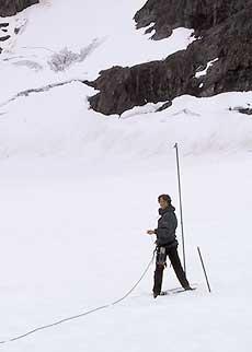 Snödjupsmätning på Storglaciären. Bild: Kristof Sturm.